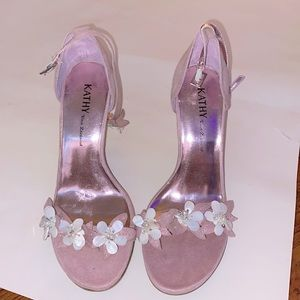 Kathy Van Zeeland | floral high heels pink glitter